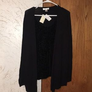 Black shirt with attached sweater
